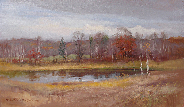 November Pond,  12 x 20 oil on panel