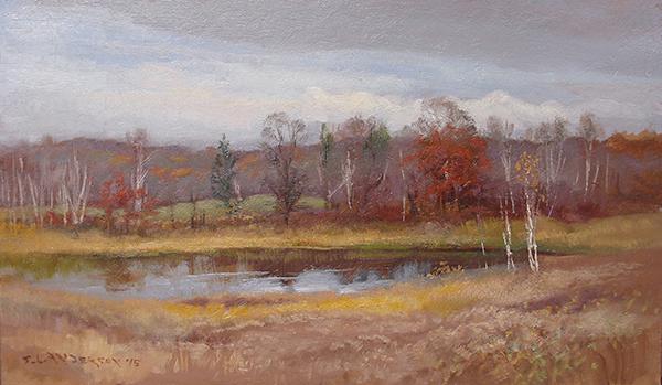 November Pond,  12 x 20 oil on panel