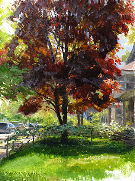 Mary Beth's Maple , 16 x 12 oil on panel So much beautiful color in the spring when everything is fresh. When the cool blue sky reflects on these deep reddish leaves, the color is almost purple. I love that.