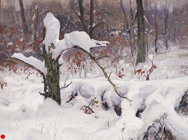 Snowy Stump,    12 x 16  oil on panel Painted after a fresh snowfall near Webb Lake, Wisconsin.  SOLD
