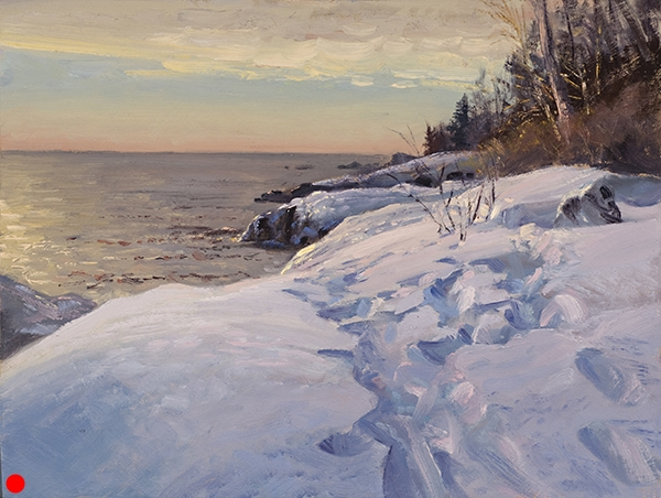 Steps Along the Lake Superior Shore (sold),12 x 16 oil on panel My daughter and I visited friends on the Superior North Shore after the holidays. I set up in front of this beautiful view, then the kids came stomping along and tracked right through the foreground...and made the picture.
