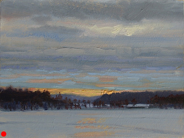 Early Light, Webb Lake , 6 x 8 oil on panel [09-095]