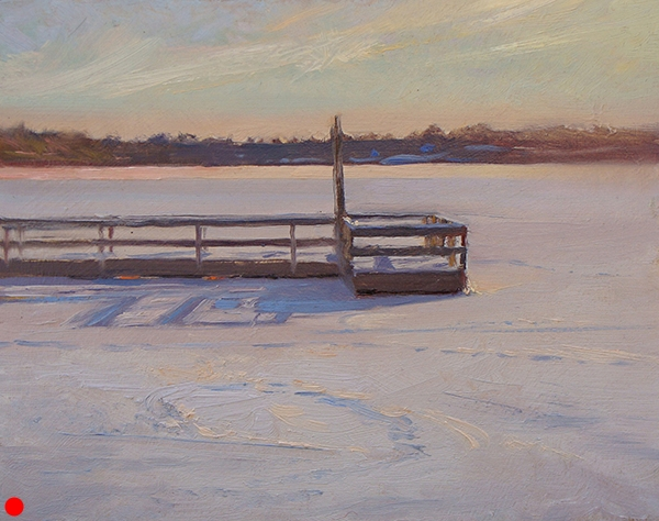 Frozen Floating Dock  (sold), 8 x 10 oil on panel Late each fall, city park workers free these fishing piers to float so their pilings don't get crushed by the shifting ice. After finding a spot to get comfortable for the winter, they sit out there teasing the summer anglers.  SOLD