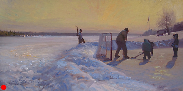 Boot Hockey,  18 x 36 oil on canvas An iconic Minnesota scene.  SOLD