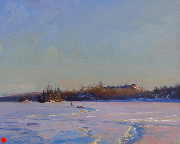 Bearskin Lake Sunset 2  ,  8 x 10 oil on panel  SOLD