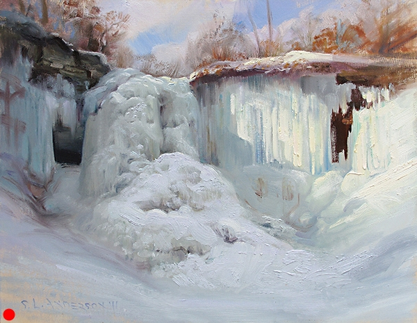 Minnehaha Falls, February,  16 x 20 oil on panel  SOLD