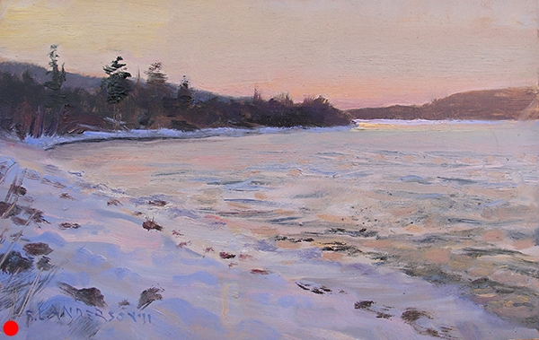 Sunset at Gunflint Lake,  7 x 11 oil on panel Dedicated to the memory of Ron Miles.  SOLD