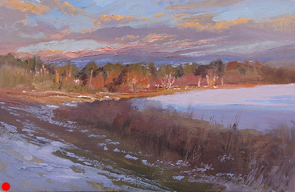 Last Light on the Lake,  11 x 7 oil on panel The most sumptuous, gorgeous light of the day only lasts a few moments. Get it while you can...   SOLD