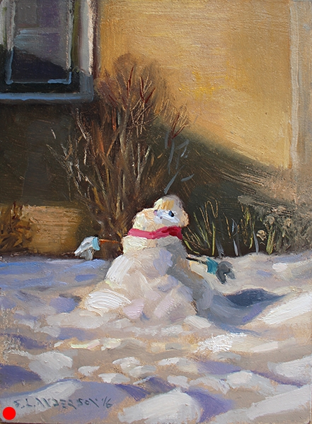 Snow Person 8 , 7 x 5 oil on panel  SOLD