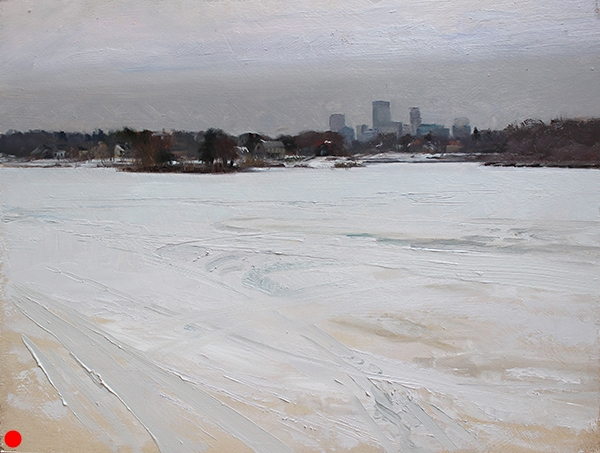 Minneapolis Skyline from Lake of the Isles,  18 x 24 oil on panel Even on a gray day in winter, there's a lot of color out there. It's subtle, but it's out there.   SOLD