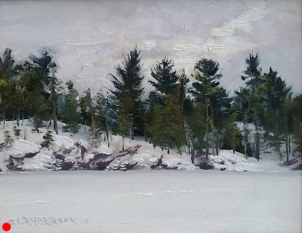 Winter Grays, Winter Greens,   8 x 10 oil on panel Painted at  Will Steger 's camp near Ely, Minnesota.  SOLD