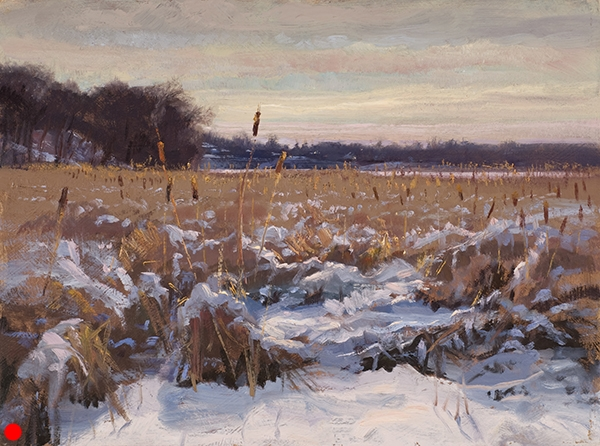Cattails at Cedar Lake , 12 x 16 oil on panel  SOLD