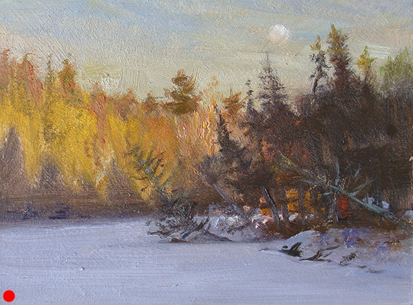 Moonrise Over Bearskin Lake,   6 x 8 oil on panel. This was one of those small paintings created quickly as the sun did it's last-minute deal with the horizon.  SOLD