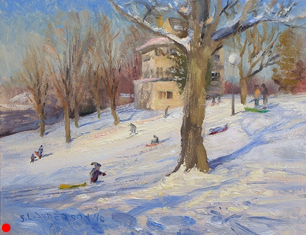 Farmstead Sledding Hill,  8 x 10 oil on panel  SOLD