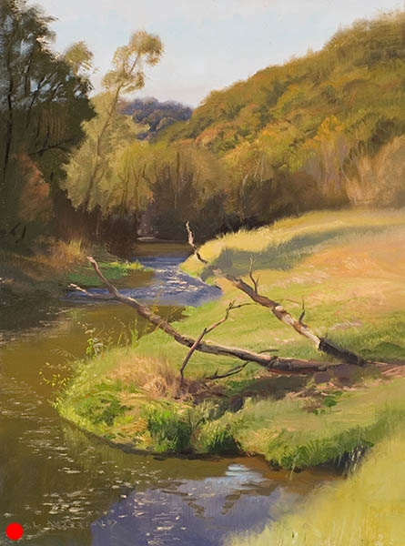Fall in Spring Valley , 12 x 16 oil on panel My painting pal,  Richard Abraham , loves this area in southwestern Wisconsin known as the Driftless Zone. It's where the glaciers stopped and melted, leaving a terrain of deep ravines and rich soil pastures. SOLD