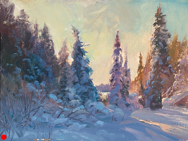 Boreal Sunset , 15 x 20 oil on canvas A magical time of day up north SOLD