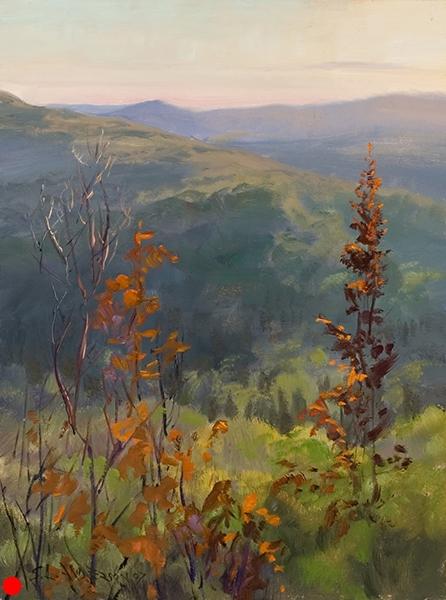 Sawtooth Mountain Sunset , 12 x 16 oil on panel SOLD