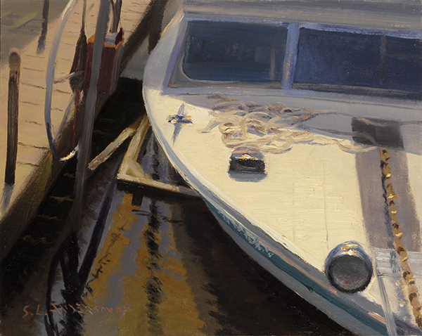 High Sun Over the Marina,    8 x 10  oil on panel This was painted on Lake Mille Lacs during the Jaques Art Center 2007 plein air event in Aitkin, Minnesota.