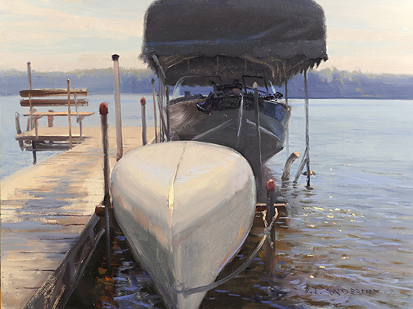 Napping Boats  ,  12 x 16  oil on panel A lesson, or nightmare, in painting  foreshortened angles. I loved the color of the puddled water  on the dock reflecting the sky, so I had the kids get out  of water periodically to run up and down the dock.