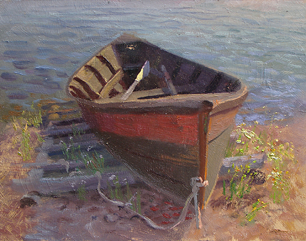 Bateau  , 8 x 10 oil on panel The North House Folk School in Grand Marais, Minnesota offers classes on how to build these beautiful little boats.