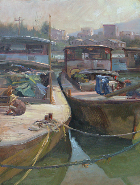 Working Boats, Che kan, China  ,  12 x 16 oil on panel People work on these vessels. People live, sleep,  and probably spend most of their lives on them. With this painting,  I wanted to describe the large scale of the boats, the appealing  shape of their hulls, and the hodgepodge of stuff on the decks.