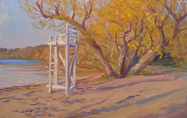 South Beach, Autumn  , 11 x 7 oil on panel Painted on location on Lake Harriet in Minneapolis.