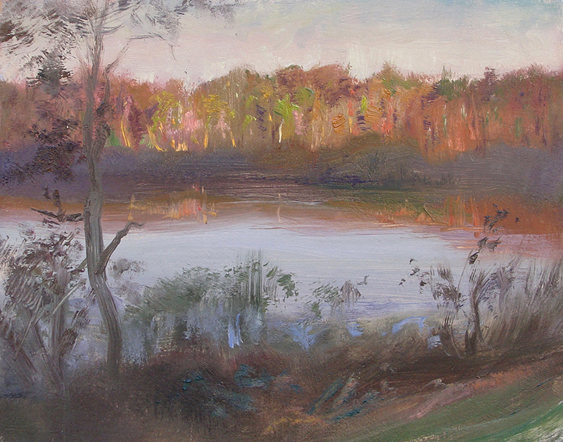 """Autumn Sunrise,   8 x 10 oil on panel Sunrise efforts are always fun because you get out early in the dark and try to predict what the sun is going to do. As it rose behind me, it """"painted"""" the trees across the small lake. The light effect lasted about 20 minutes."""