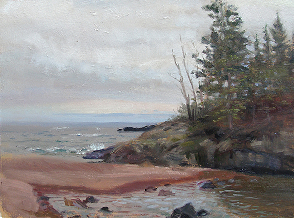Tombolo, Superior North Shore,   12 x 16 oil on panel Painted near Hovland, Minnesota, on an outing with my colleague Neil Sherman. When you paint in Minnesota you learn to paint grays.