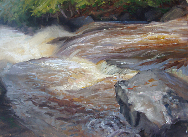Cascade River, May  ,  18 x 24 oil on canvas Painted near Grand Marais, Minnesota. The rushing water can hypnotize you when you stare at it for three hours.