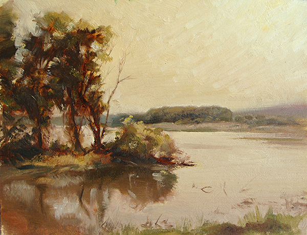 Morning Light on the Point,   16 x 12 oil on panel An exercise in a more limited color palette. Painted on location on the Minnesota River.