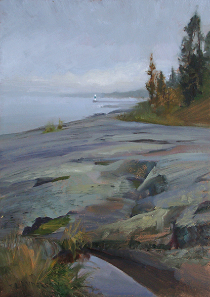 Lake Superior at Grand Marais,   12 x 16 oil on panel Painted during the Quick Paint event at the Grand Marais Art Colony plein air event. The rocks are part of Artist's Point, a popular spot on the North Shore of Lake Superior.