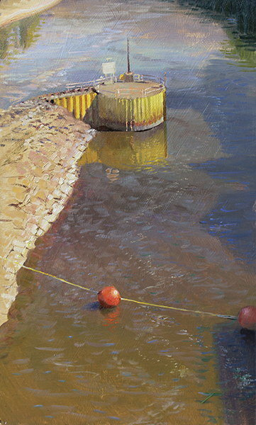 Pilon at Lock and Dam #1,  20 x 12 oil on panel  1) Thou shalt avoid symmetrical compositions.  2) Thou shalt never put an object in the center of a painting. Smite me. I broke two art commandments and I like it. How about you? In case you're wondering, those red buoy balls are about 5 feet across.