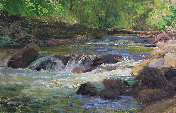 "Minnehaha Creek in May,  7 x 11 oil on panel The most urban of Minneapolis waterways: Minnehaha Creek, the ""Laughing Waters"""
