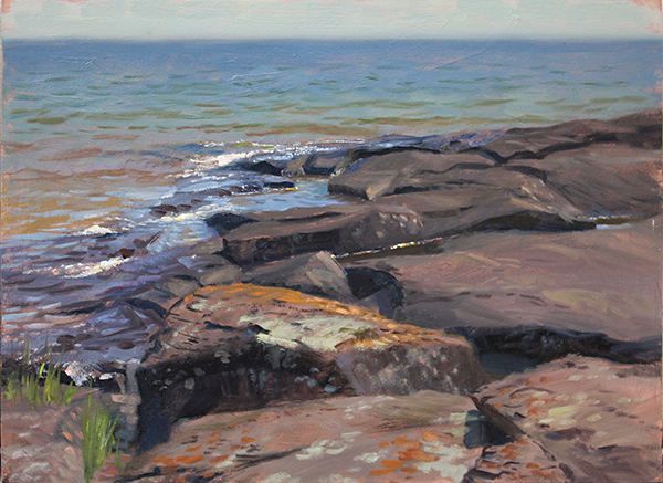 North Shore Rocks , 12 x 16 oil on panel Painted on location in July near the Beaver River. July, 2016.