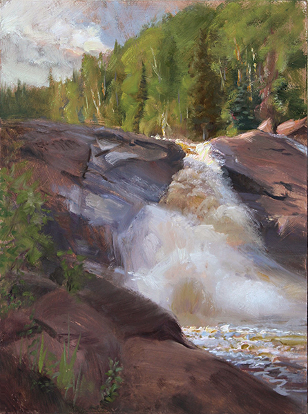 Lower Beaver River Falls  ,  16 x 12 oil on panel  Painted on location near the North Shore of Lake Superior. July, 2016.