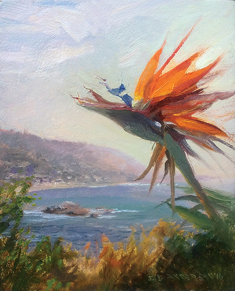 Bird of Paradise,  10 x 8 oil on panel Not sure if this is a floral painting with a landscape in the background or a landscape with a flower in the foreground. Do you care? Me neither.