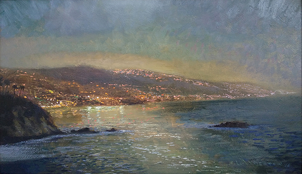 The Laguna Shore, Moonlight  ,  12 x 20 oil on panel