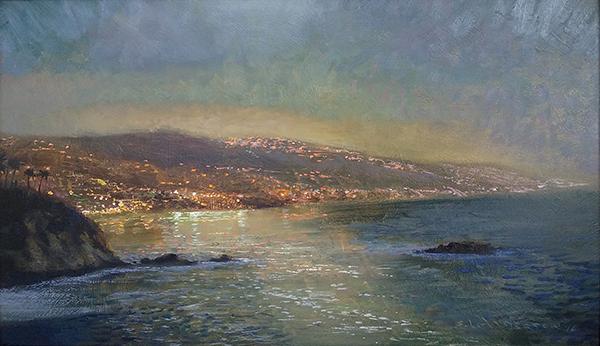 The Laguna Shore, Moonlight  , 12 x 20 oil on panel