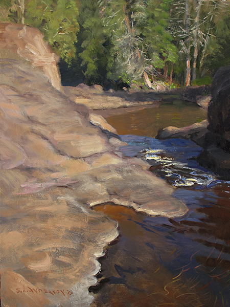 Encampment River Shapes,    16 x 12 oil on panel This is what I saw as I painted: a big organic shape of hard impenetrable stuff next to another big organic shape of moving, transparent, root beer-colored stuff.