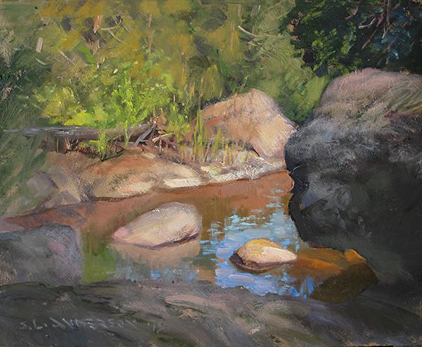 Rocks in the Pond, Encampment River , 8 x 10 oil on panel