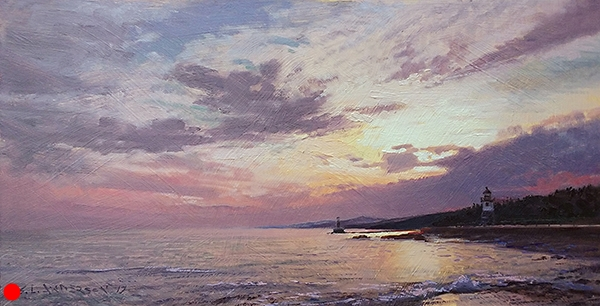 Sunset on the North Shore  , 18.5 x 9.25 oil on panel The sky over Lake Superior offers a spectacle of weather changes and clouds. This was purchased by a patron as a gift for her meteorologist husband. I'm sure he could explain why the clouds seem to mirror the Sawtooth Mountains that run along the shoreline. SOLD