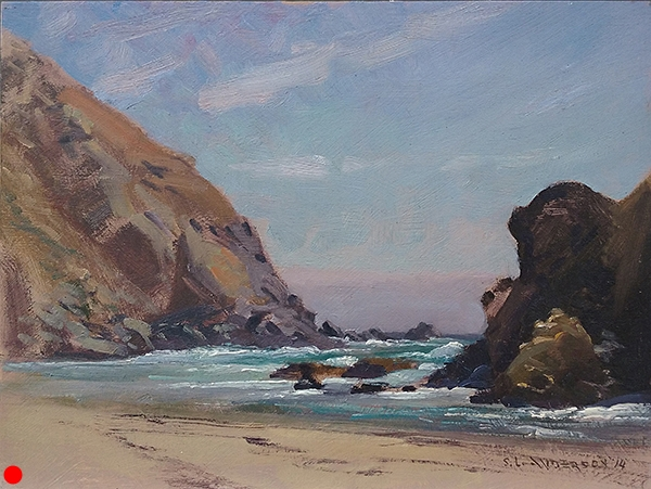 Pfeiffer Beach, Big Sur , 12 x 16 oil on panel It was brutally windy when I painted this stunning beach. By the end of the day, my gear, hair, clothes—and the painting—were permeated with sand. It didn't hurt the painting, but the camera was toast. SOLD
