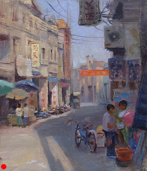 Kids, Che kan , 8 x 10 oil on panel The charming, small city of Che kan, China, was full of small family businesses, street venders, and a wide variety of two-and three-wheeled vehicles whizzing around. Some hauled amazing amounts of stuff piled high in baskets, some loaded two or three helmet-less kids in front and behind the drivers. These kids were checking out some toys, probably not made in the U.S.