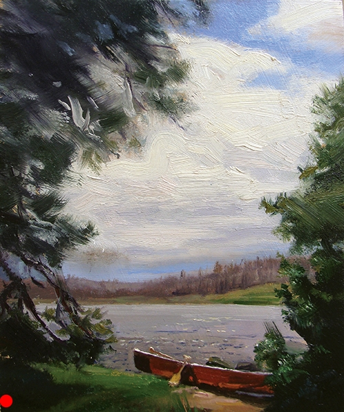 Canoe , 8 x 10 oil on panel If you've ever carried an aluminum canoe for any distance, you know what a blessing these Kevlar babies are. Just don't bash them into the rocks at portages. SOLD
