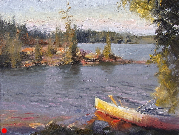 Afternoon Light at the Campsite , 11 x 7 oil on panel This is from a series of small studies of scenes in the northwoods. Painters may find it interesting that I used no blues, only ivory black. It's amazing how cool it tints out. SOLD