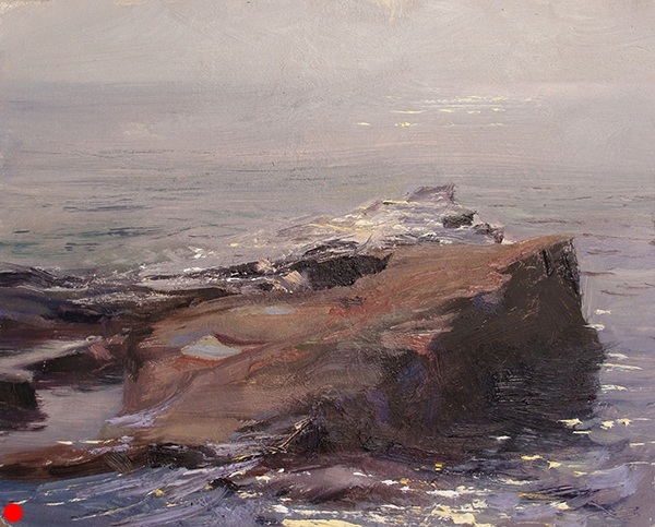 "Lake Superior Glare , 8 x 10 oil on panel Somehow the sun soaked through a misty haze out on ""Artist's Point"" in Grand Marais, Minnesota. SOLD"