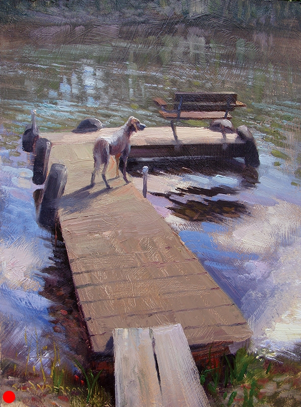Waiting , 12 x 16 oil on panel This dog posed while waiting for her master (the family member who feeds her) to return from a boat ride. SOLD