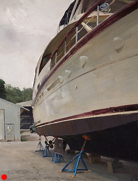 Yacht at Building 4  Painted in Door County, Wisconsin at one of the many small harbor towns, I was interested in the perspective, the scale, and the contrast of this big honkin' thing on those colorful little jacks. SOLD