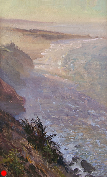 Big Sur , 12 x 20 oil on panel Painted as the early morning sun shined between the mountains near the shore. The Pacific Coast Highway is amazing. SOLD