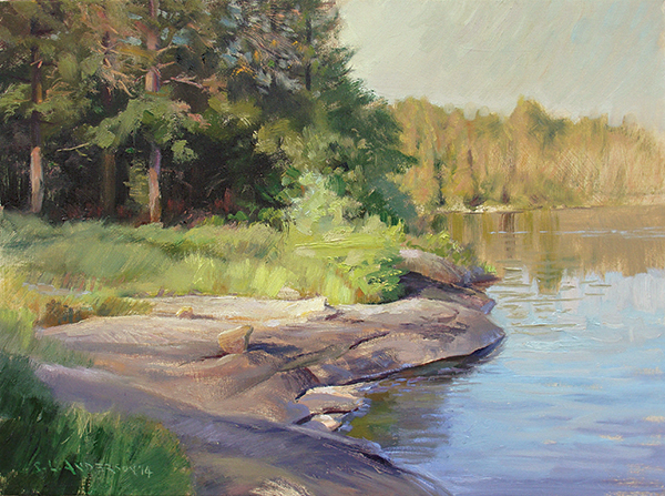 Evening Light on the Shore,    24 x 18 oil on panel This was our campsite on Lake Three in the Boundary Waters. Not the most poetically named lake, but it's one of the most traveled in the area. It has a number of lovely spots to set up your tent, sit on a rock, and try not to think about how the changing climate and invading earthworms will impact the boreal forest.